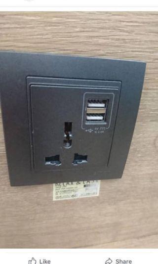 Universal socket with Dual USB