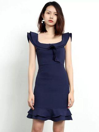 一字肩 寶藍 斯文 淑女 晚宴 裙 women navy off shoulder  dinner party dress