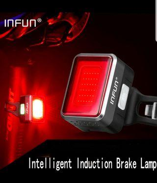 ***In-Stock =Rear Light Automatic Brake Induction Taillight USB Charge Breathable LED Flashlight Bike Safety Lamp INFUN F50