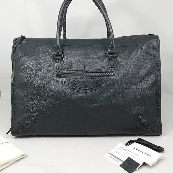 2nd excellent Balenciaga Work Anthracite RH 2014 with care card, year card, mirror, sample leather & dust bag
