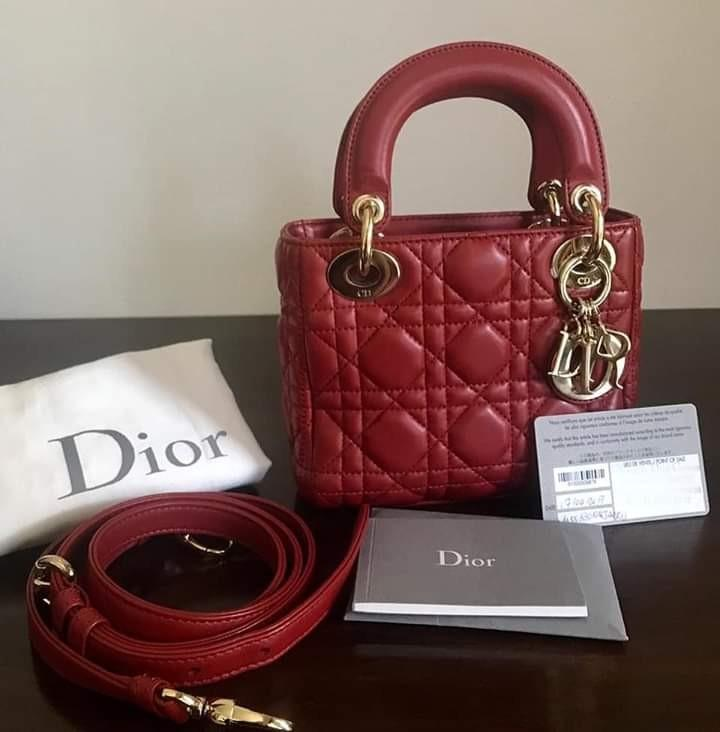 2nd excellent Mini Lady Dior 2017 in Red Light Gold HW with Strap Dustbag & Card stamp (all rings sealed)