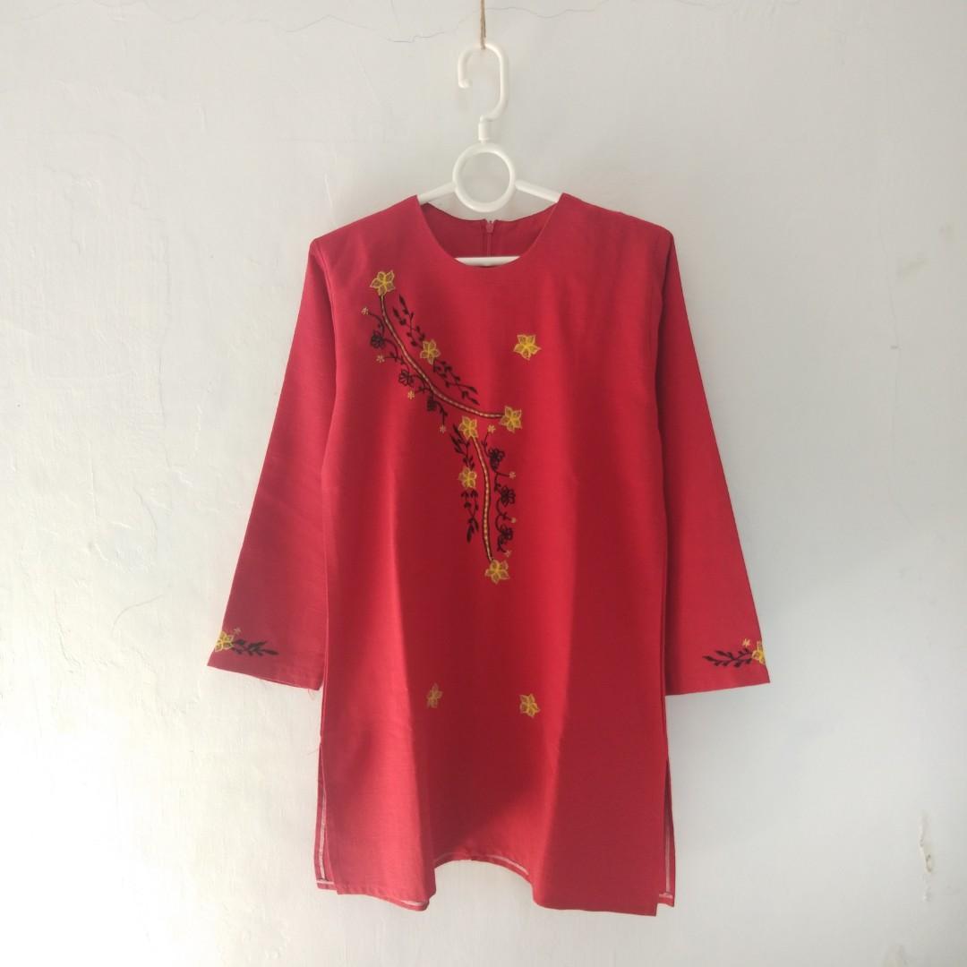 Blouse Merah Bordir #maugopay