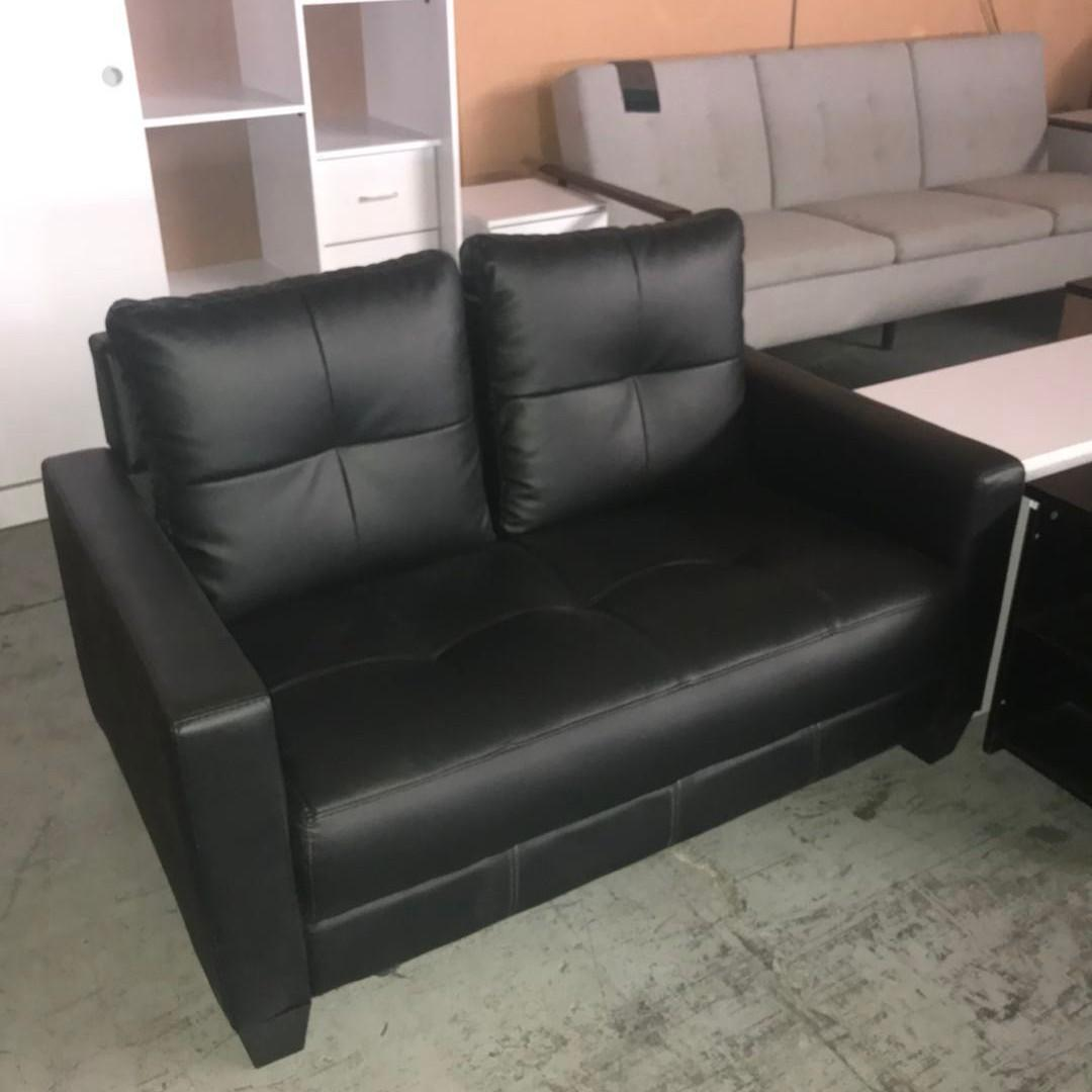 COMBO DEAL$$$ 2 seater PU Sofa PLUS 3 seater PU sofa black