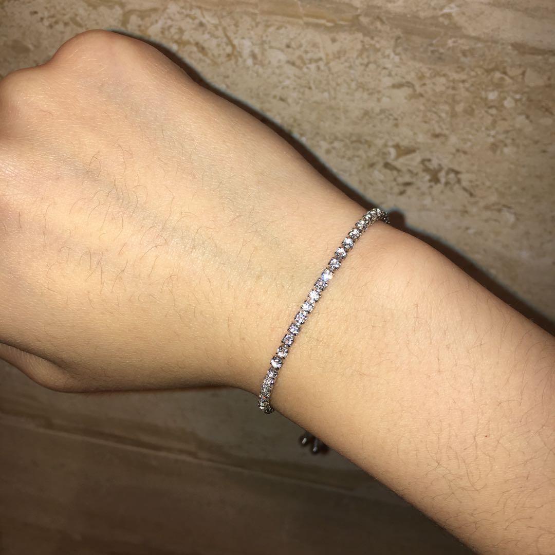 Cute cubic zirconia silver bracelet adjustable luxury