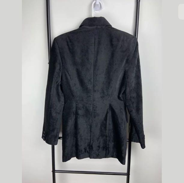Karen Millen England 8 black velvet coat jacket winter designer high end gothic