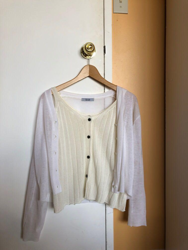 Korean one size cute two piece blouse lightweight cardigan white