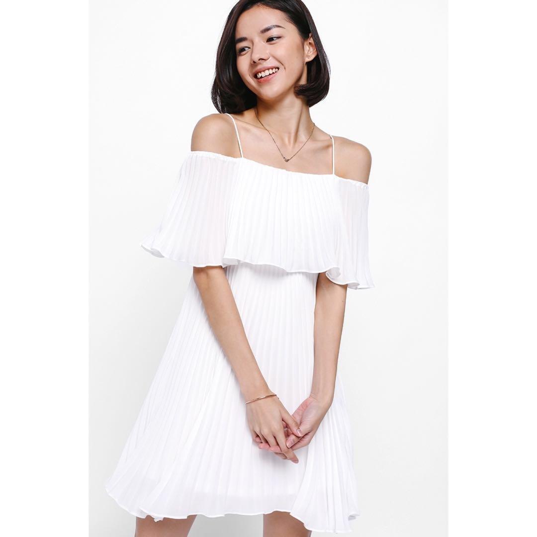 Love Bonito Darosia Pleated Layer Dress - White (S)