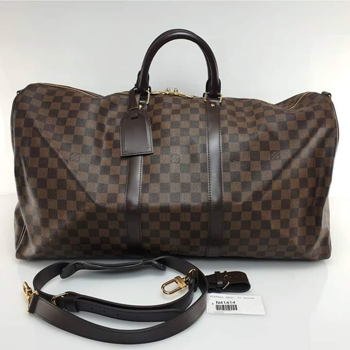 LV Keepall 55 Damier Ebene MB1163 ,comes with tag, leather tag, strap, dustbag