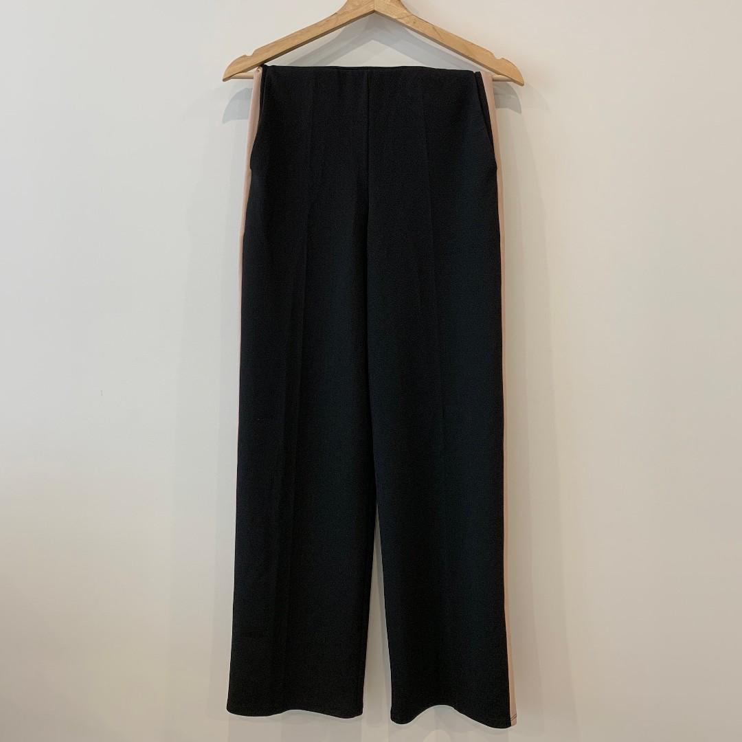 Miss Selfridge Side Striped Wide Leg Trousers - Black