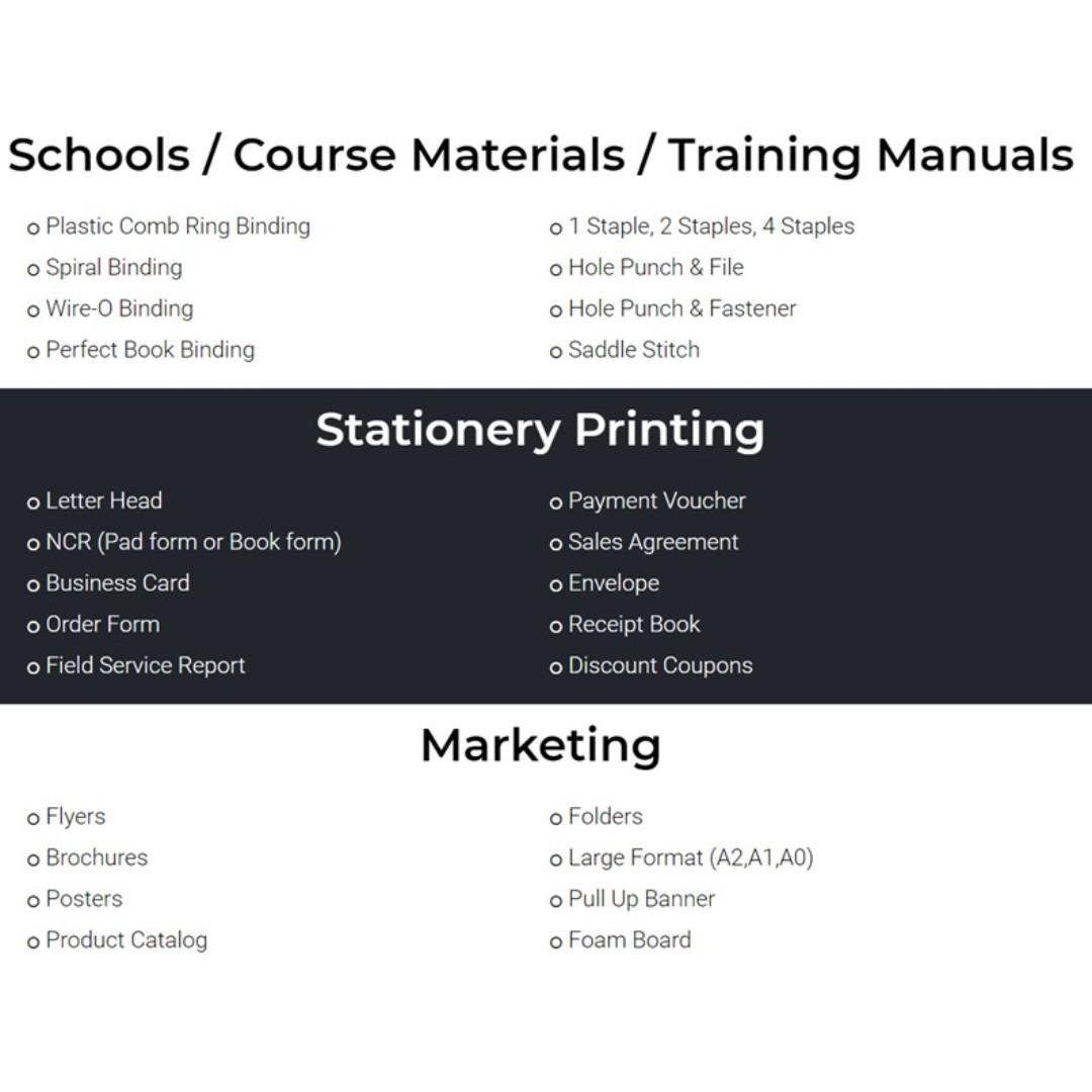 Printing and Binding Services