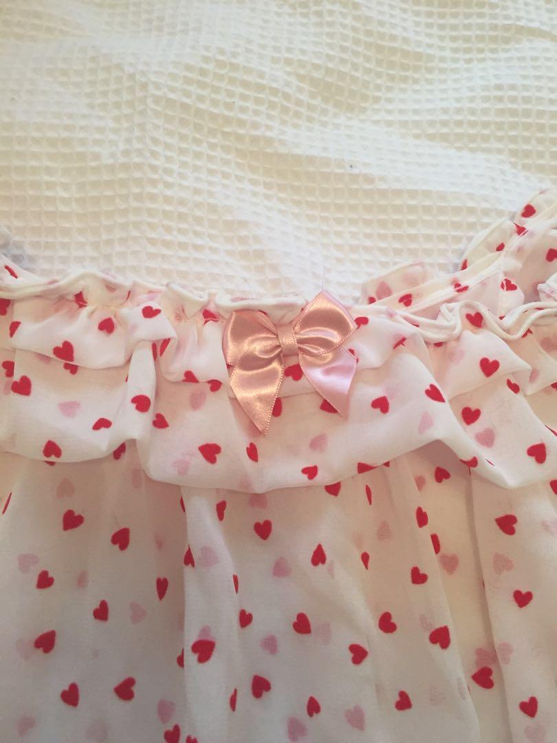 Rose Marie Seoir red heart white peignoir nighty babydoll top