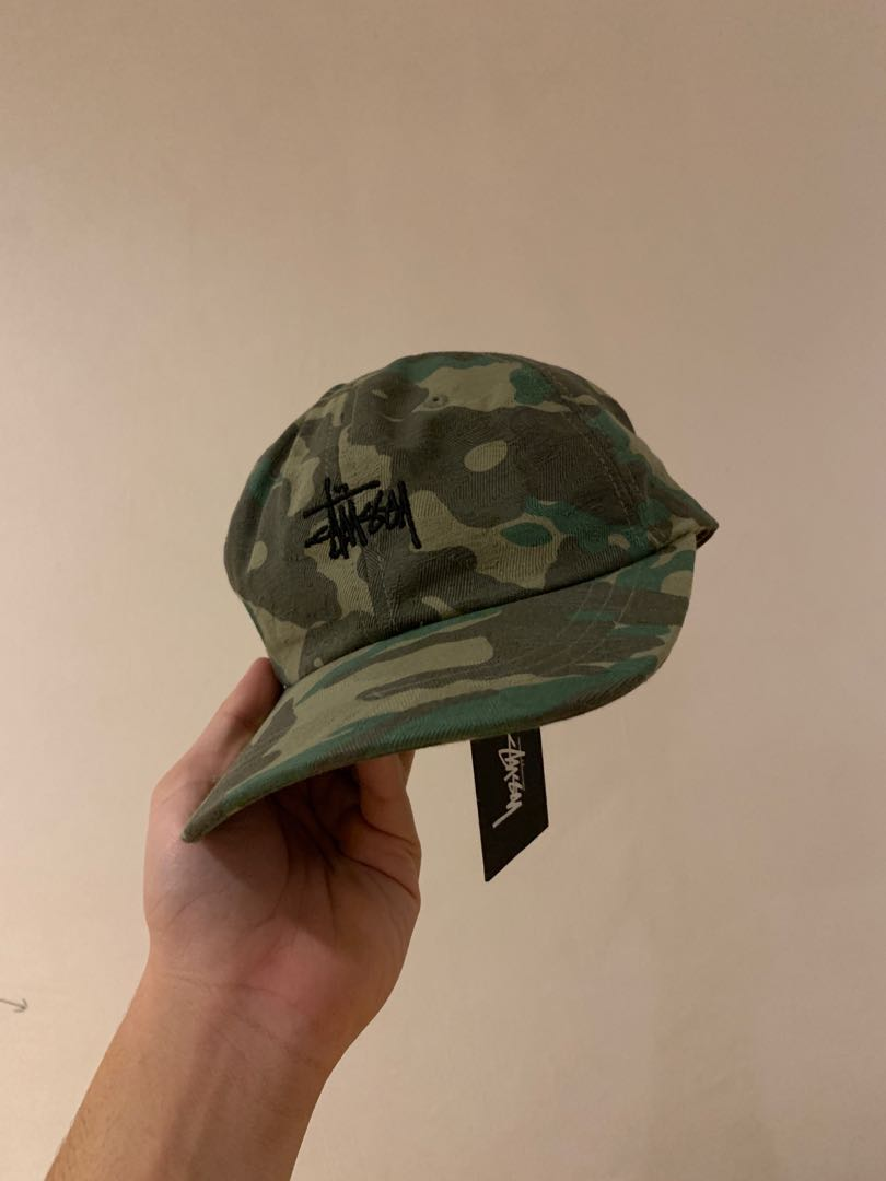 7283cad8ac2c52 stussy jacquard camo camp cap, Men's Fashion, Accessories, Caps & Hats on  Carousell
