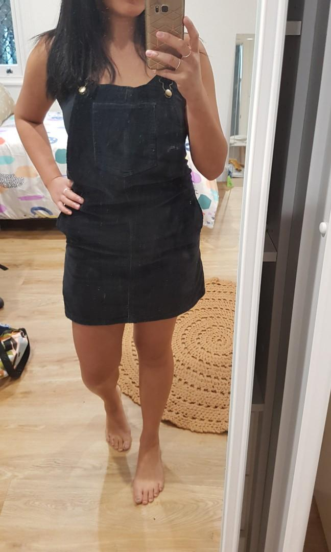 Swell Black Corduroy Cord Overalls Dress Pinafore size 8