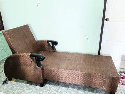Rattan long lazy chair with mattress