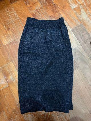 🚚 Sparkly Black Blue Stretch Skirt