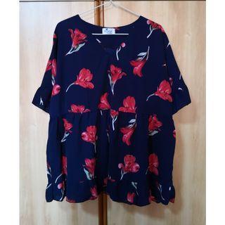 (SALES) Plus Size Oversize Floral Tulip Baby Doll Peplum Basic Korean Top
