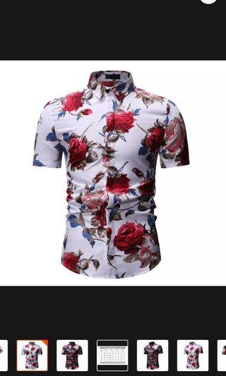 Mens shirt slim fit short sleeve floral shirt