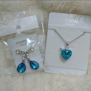 Perhiasan Blue heart set
