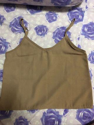 Light brown singlet crop top