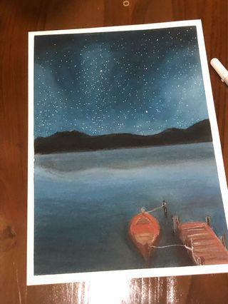 Night pastel drawing