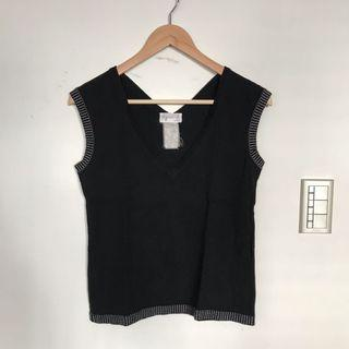 *古著* Agnès B. made in France法製黑色針織背心