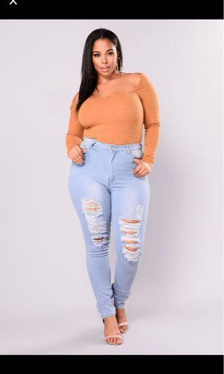 🚚 Plus Size 2xl Fashion Nova Ripped Jeans