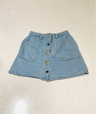 #3410 Korean Style Denim Button Down Light Blue Skirt Ulzzang/Retro/Vintage