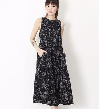 🚚 AFA AFORARCADE DARCEY ABSTRACT TIER DRESS IN BLACK