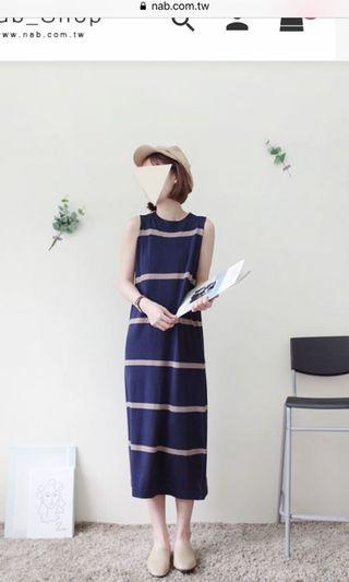 🚚 Striped knit midi dress in navy beige