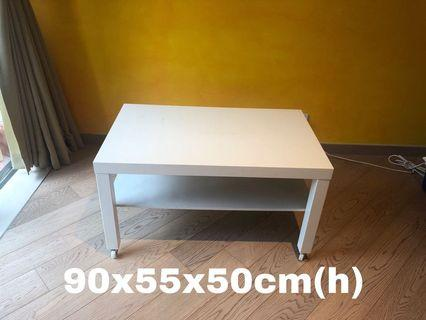 IKEA Lack white coffee table with castor wheels