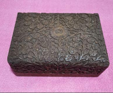 Antique handcrafted wooden floral design jewellery wooden box