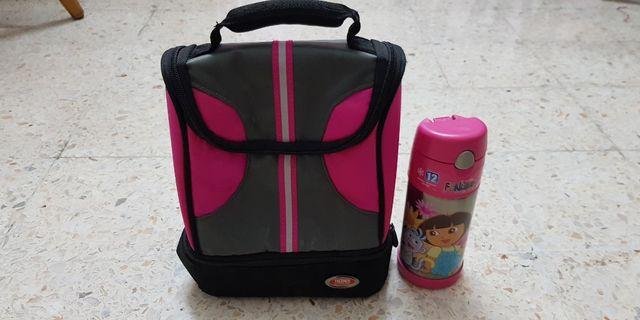 Thermos lunch bag and thermos Dora bottle