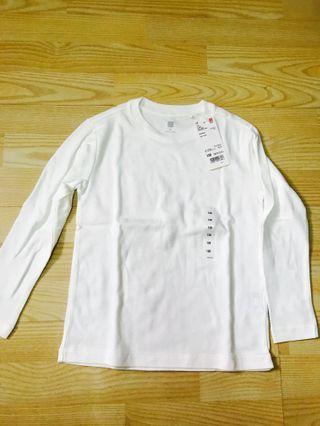 Uniqlo White Crew Neck Long Sleeve