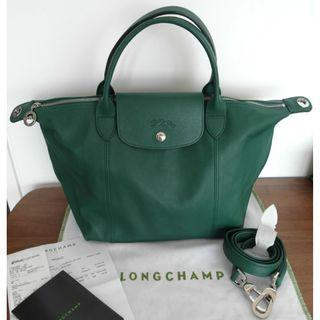 Brand New Longchamp Le Pliage Cuir / Leather (S) Emerald Green