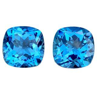 No Inclusion-Swiss Blue Topaz Pair, Intense Color, Swiss Blue Pair Cushion for a Beautiful Ear rings. PM for details T1/2/3719