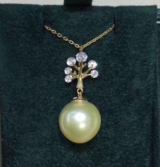 天然色11-12mm近正圓極微瑕/幾乎無暇天然色香檳金色南洋海水珍珠吊咀
