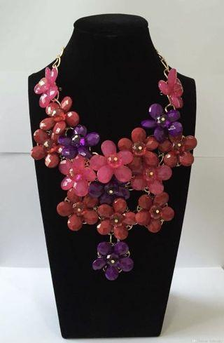 Floral Statement Necklace with drop earrings