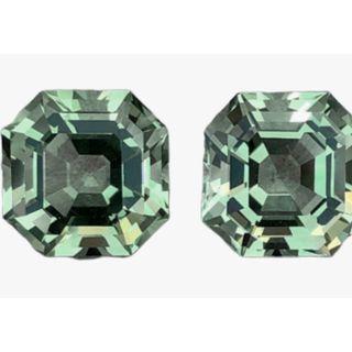 (Asscher Pair, Green Prasiolite Pair, aka Green Amethyst. PM for a custom lovely Ear rings. T1/4/3719