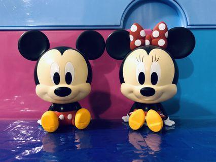 Disney Mickey Mouse & Minnie 扭蛋 小擺設 一對出售