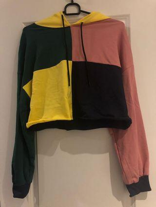 Colourful cropped hoodie