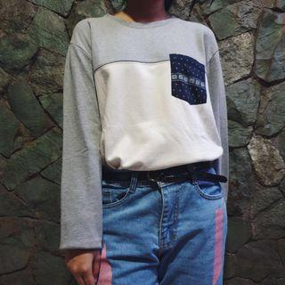 Forever 21 Grey & White Oversize Sweater