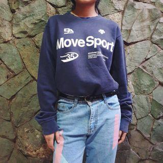 "Oversize ""Move Sport"" Navy Blue Sweater"