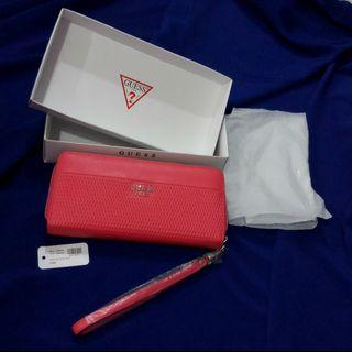 GUESS BLAKELY round fastener long wallet Wristlet LIPSTICK red system VY668746 (SALES)