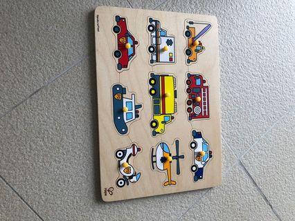 Hape vehicle wooden puzzle
