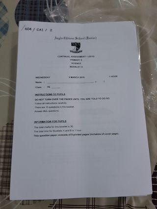 PSLE PAST YEAR PAPER (SCIENCE)