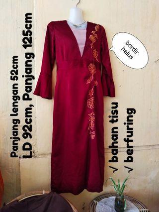 Gamis Merah Maroon, preloved 90%