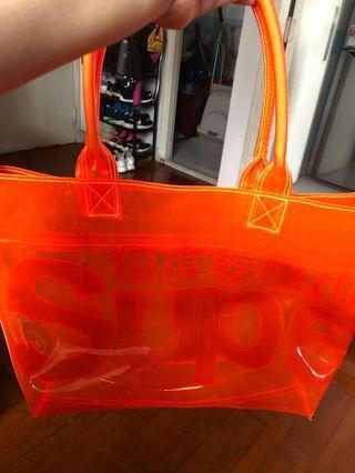 Superdry 極度乾燥 沙灘袋 透明橙色 100%PVC