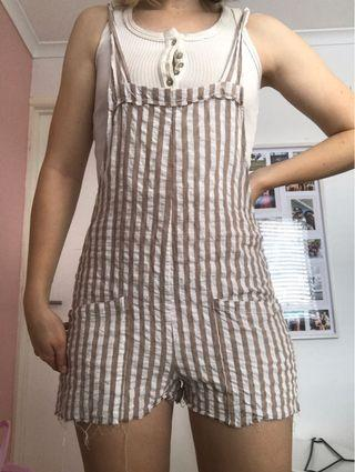Charcoal Cotton Striped Playsuit