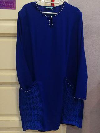 Baju Kurung Moden Electric Blue Peace Collection