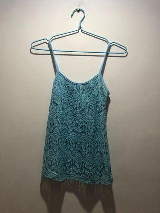 Light Blue Laced Sleveless Top